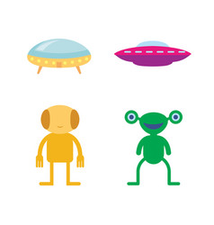 colorful flat alien icon spaceship vector image