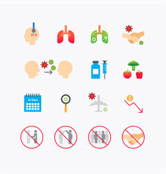 corona covid19 virus color icons flat line design vector image