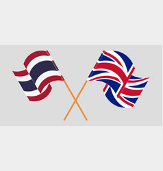 Crossed and waving flags thailand and uk vector