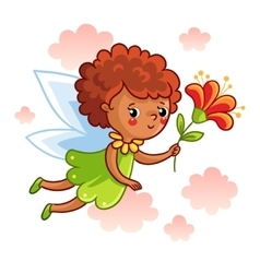 Cute dark-skinned fairy flying on the wings vector
