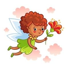 Cute dark-skinned fairy flying on wings vector