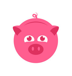 cute pink piggy bank symbol logo design vector image