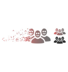 Dissolved pixel halftone happy people group icon vector