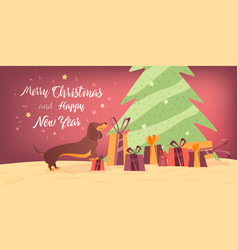 Dog and gifts near the christmas tree banner desig vector