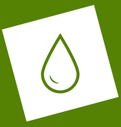 Drop of water sign white icon obtained as vector