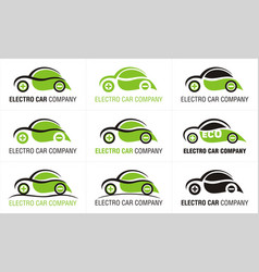 Eco electric car company nine logos vector
