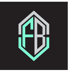 Fb logo monogram with hexagon shape and outline vector