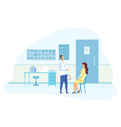 Female patient on ent specialist consultation vector