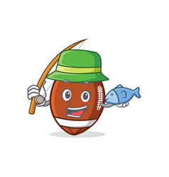 Fishing american football character cartoon vector