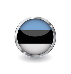flag of estonia button with metal frame and vector image