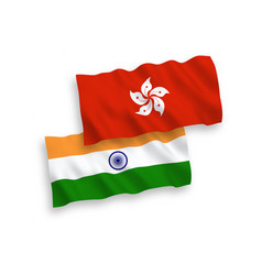 Flags india and hong kong on a white background vector