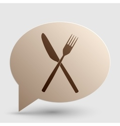 Fork and Knife sign Brown gradient icon on bubble vector
