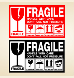 Fragile icon packaging shipping handle white care vector