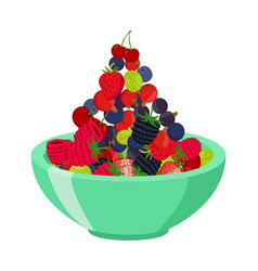 fresh berries in cup berry set in cartoon style vector image