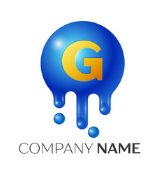 g letter splash logo blue dots and bubbles letter vector image