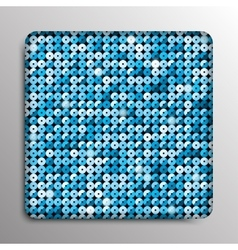 Glass frame with blue sequins background vector