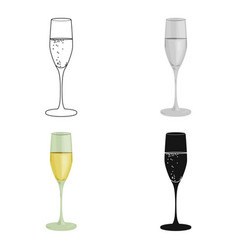 glass of champagne icon in cartoon style isolated vector image