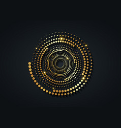 gold halftone dots in circle form round logo vector image