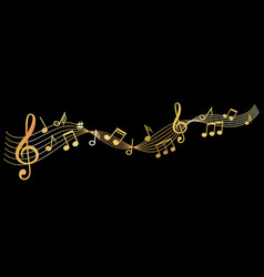 Gold music notes background vector