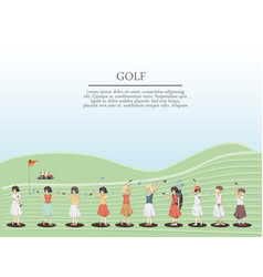 golf player women in the course vector image