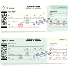 Green airline boarding pass tickets for traveling vector