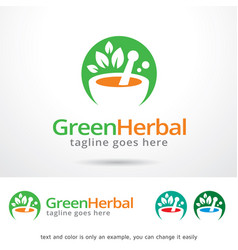 Green herbal logo template vector