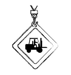 Grunge caution diamond emblem with laborer in vector