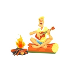 Guy Playing Guitar Sitting On A Log Next To vector