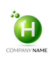 H letter splash logo green dots and circle bubble vector