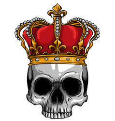 hand drawn king skull wearing crown vector image
