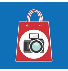 Hand holds bag gift camera design vector