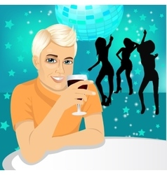 handsome man drinking wine vector image