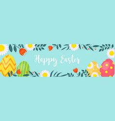 Happy easter banner with eggs and flowers vector