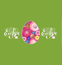happy easter flyer template with egg flowers and vector image