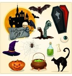 horror decoration elements for halloween design vector image