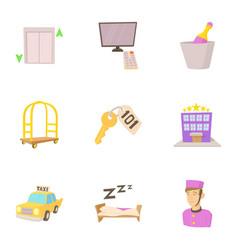 hostel service icons set cartoon style vector image