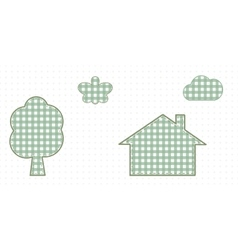 House in nature butterfly tree and cloud Cute Baby vector