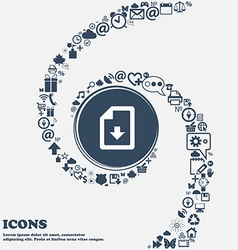 Import download file icon sign in the center vector
