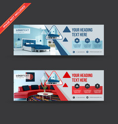 Interior design business web banners vector