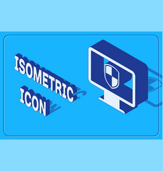 Isometric monitor and shield icon isolated on blue vector
