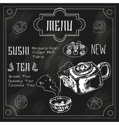 Japanese teapot and cup blackboard vector image