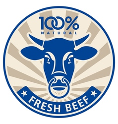 Label with the head of a bull vector image