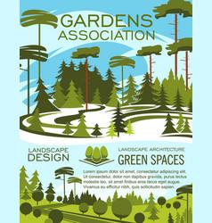 landscape design studio gardening service banner vector image
