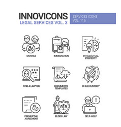 Legal services - line design style icons set vector