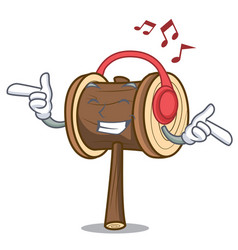 Listening music mallet mascot cartoon style vector