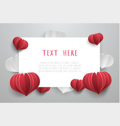 Love card background with heart paper cut style vector