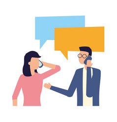 man and woman using smartphone talk bubble vector image