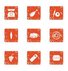 measure food icons set grunge style vector image