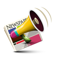 megaphone with newspapers application vector image