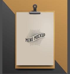menu template mock up realistic vector image